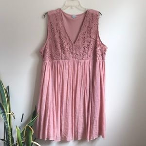 Avenue Rose Pink Dress with Buttons and Lace